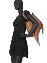 Leather Shouder Bag Fringes Basilic pepper Brown fringues BFRI01-vue-porte
