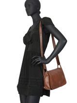 Leather Crossbody Bag Seventies Basilic pepper Brown seventies BSEV02-vue-porte