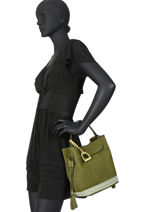 Medium Leather Bucket Bag Bangkok Etrier Green bangkok EBAF03-vue-porte