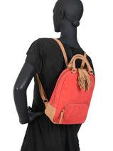 Leather Backpack Tornade Etrier Red tornade ETOR11-vue-porte