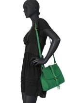 Shoulder Bag Obstacle Leather Etrier Green obstacle EOBS07-vue-porte