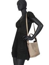 Longchamp Sacs porté travers Beige-vue-porte