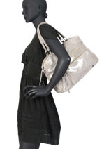 Shoulder Bag Andrea Leather Pieces Gray andrea 17102834-vue-porte
