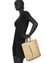 Medium Tote Bag Cabas Raffia Sequins Vanessa bruno Beige cabas raphia 64V40413-vue-porte