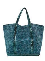 Large Tote Bag Ethnic Sequins Vanessa bruno Blue cabas raphia 65V40414