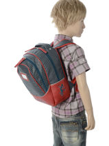 Backpack For Kids 2 Compartments Cameleon Red retro RET-PRI-vue-porte
