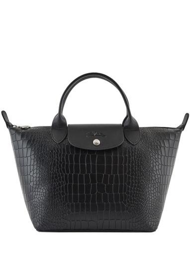 Longchamp Le pliage cuir croco Sacs porté main Noir