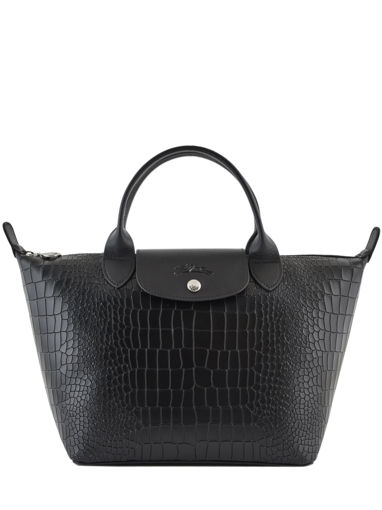 Longchamp Le pliage cuir croco Handbag Black