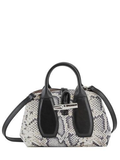Longchamp Roseau python Handbag Black
