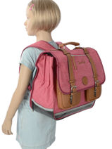 Satchel For Kids 3 Compartments Cameleon Pink vintage chine VIN-CA41-vue-porte