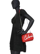 Shoulder Bag Denim Signature Calvin klein jeans Red denim K606572-vue-porte