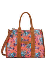 Large Tote Bag Palm Raffia Mila louise Pink palm 23691PLM