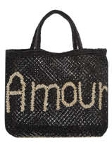 "Jute Shopping Bag ""amour"" The jacksons Black word bag S-AMOUR"
