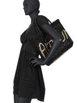 "Jute Shopping Bag ""amour"" The jacksons Black word bag S-AMOUR-vue-porte"