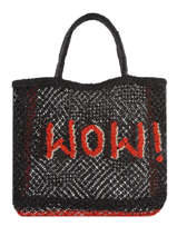 """Sac Cabas """"wow!"""" Format A4 Paille The jacksons Noir word bag S-WOW"""
