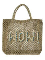 "Sac Cabas ""wow!"" Format A4 Paille The jacksons Vert word bag S-WOW"