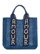 """Sac Cabas """"amour"""" Format A4 Paille The jacksons Bleu tessa T-AMOUR"""