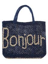 "Sac Cabas ""bonjour"" Format A4 Paille The jacksons Bleu word bag S-BONJOU"