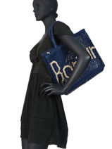 "Sac Cabas ""bonjour"" Format A4 Paille The jacksons Bleu word bag S-BONJOU-vue-porte"
