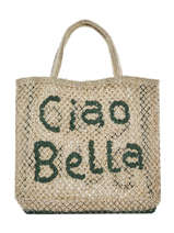 """Sac Cabas """"ciao Bella"""" Format A4 Paille The jacksons Beige word bag S-CIAOBE"""