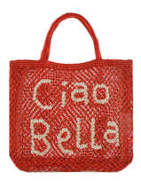 "Sac Cabas ""ciao Bella"" Format A4 Paille The jacksons Rouge word bag S-CIAOBE"