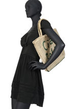 """Sac Cabas """"ciao Bella"""" Format A4 Paille The jacksons Beige word bag S-CIAOBE-vue-porte"""