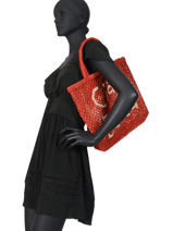 """Jute Shopping Bag """"ciao Bella"""" The jacksons Red word bag CIAOBE-vue-porte"""