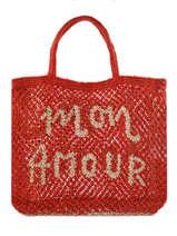 """Sac  Cabas """"mon Amour"""" Format A4 Paille The jacksons Rouge word bag S-MONAMO"""