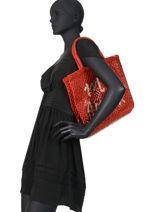 """Sac  Cabas """"mon Amour"""" Format A4 Paille The jacksons Rouge word bag S-MONAMO-vue-porte"""