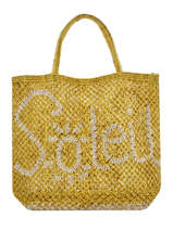 "Jute Shopping Bag ""soleil"" The jacksons Yellow word bag S-SOLEIL"