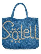"""Sac Cabas """"soleil"""" Format A4 Paille The jacksons Bleu word bag S-SOLEIL"""
