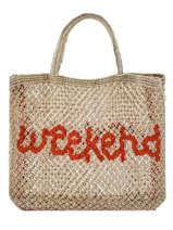 "Sac Cabas ""weekend"" Format A4 Paille The jacksons Beige word bag S-WEEKEN"