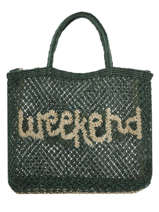 "Sac Cabas ""weekend"" Format A4 Paille The jacksons Vert word bag S-WEEKEN"
