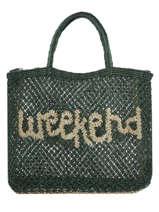 "Sac Cabas ""weekend"" Format A4 Paille The jacksons Vert word bag S-WEEKEN"