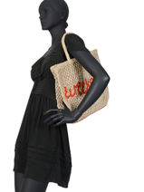 """Jute Shopping Bag """"weekend"""" The jacksons Beige word bag S-WEEKEN-vue-porte"""