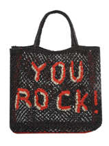 "Sac Cabas ""you Rock!"" Format A4 Paille The jacksons Noir word bag S-YOUROC"