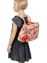 Satchel 1 Compartment Kipling Pink back to school 13571-vue-porte