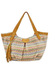 Sac Shopping Wave Raphia Mila louise Jaune wave 23684PW2