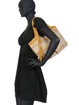 Sac Shopping Wave Raphia Mila louise Jaune wave 23684PW2-vue-porte