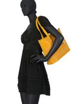 Sac Shopping Elise Fuchsia Jaune elise F9887-7-vue-porte