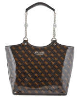 Glossy Tote Bag Lorenna Logo Print Guess Brown lorenna SP767123
