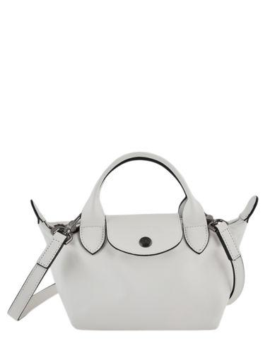 Longchamp Le pliage cuir Sacs porté main Blanc