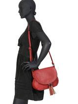 Shoulder Bag Pompon Miniprix Red pompon F305-vue-porte