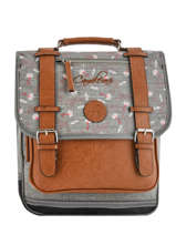 Backpack 2 Compartments Cameleon Gray vintage print girl PBVGSD38