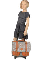 Schoolbag On Wheels For Kids 2 Compartments Cameleon Gray vintage print girl PBVGCR38-vue-porte