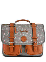 Cartable Fille 2 Compartiments Cameleon Gris vintage print girl PBVGCA38