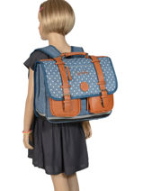 Wheeled Schoolbag For Girls 2 Compartments Cameleon Blue vintage print girl PBVGCA38-vue-porte