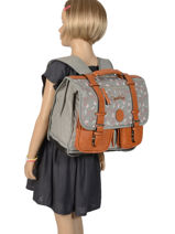 Wheeled Schoolbag For Girls 2 Compartments Cameleon Gray vintage print girl PBVGCA38-vue-porte