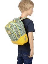 Backpack 2 Compartments Cameleon Yellow retro PBRESD31-vue-porte