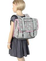 Satchel For Girls 2 Compartments Cameleon Gray vintage print girl VIG-CA35-vue-porte